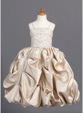 Ball Gown Floor-length Flower Girl Dress - Satin Sleeveless Shoulder straps With Embroidered/Beading