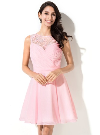 A-Line/Princess Scoop Neck Short/Mini Chiffon Homecoming Dress With Ruffle Beading Flower(s) Sequins