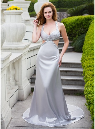 A-Line/Princess V-neck Court Train Charmeuse Prom Dress With Ruffle Beading