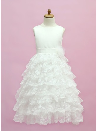A-Line/Princess Scoop Neck Floor-Length Lace Flower Girl Dress With Bow(s) Cascading Ruffles