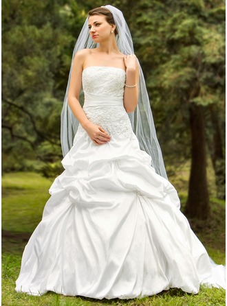 Ball-Gown Strapless Court Train Taffeta Wedding Dress With Embroidered Ruffle Beading