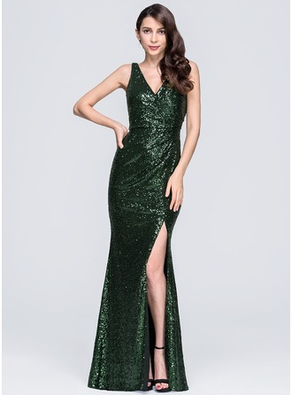 Sheath/Column V-neck Floor-Length Sequined Evening Dress With Ruffle Split Front