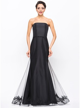 Trumpet/Mermaid Strapless Floor-Length Taffeta Tulle Evening Dress With Beading Appliques Lace