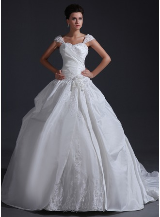 Ball-Gown Sweetheart Chapel Train Taffeta Tulle Wedding Dress With Ruffle Appliques Lace Flower(s) Sequins