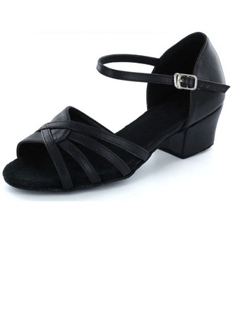 Kids' Real Leather Sandals Flats Latin With Buckle Dance Shoes