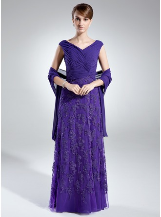 A-Line/Princess Off-the-Shoulder Floor-Length Chiffon Tulle Mother of the Bride Dress With Ruffle Lace