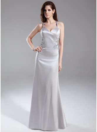 Sheath/Column V-neck Floor-Length Charmeuse Evening Dress With Beading