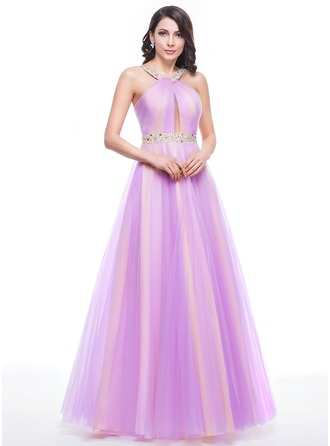 A-Line/Princess Scoop Neck Floor-Length Tulle Prom Dress With Ruffle Beading Sequins