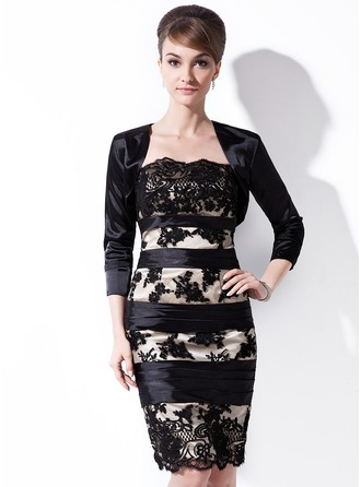 Sheath/Column Strapless Knee-Length Charmeuse Lace Mother of the Bride Dress