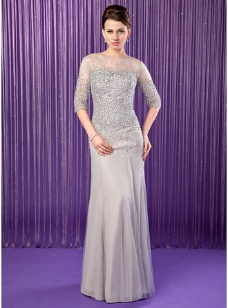 Trumpet/Mermaid Scoop Neck Floor-Length Chiffon Tulle Mother of the Bride Dress With Beading Sequins
