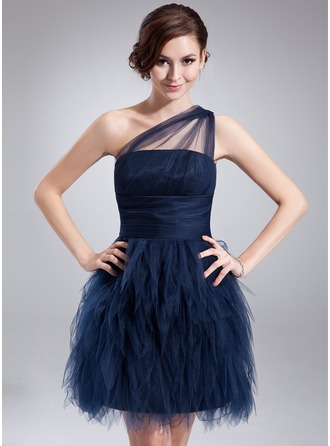 A-Line/Princess One-Shoulder Short/Mini Tulle Cocktail Dress With Ruffle