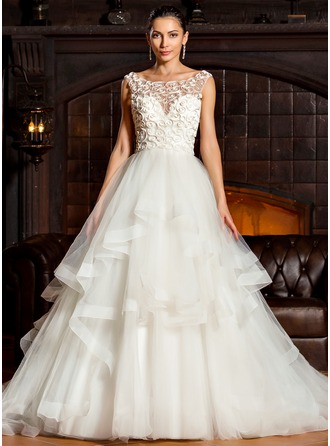Ball-Gown Scoop Neck Chapel Train Tulle Wedding Dress With Cascading Ruffles