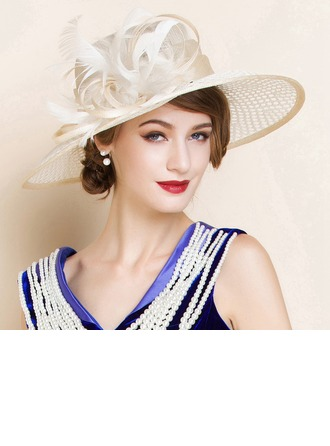 Ladies' Beautiful Summer Cambric With Feather Bowler/Cloche Hat
