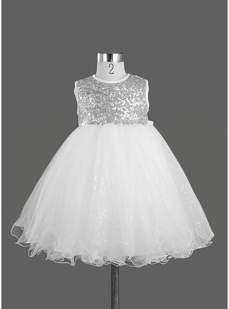 A-Line/Princess Scoop Neck Knee-Length Satin Flower Girl Dress With Sequins Bow(s)