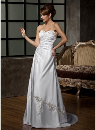 A-Line/Princess Sweetheart Court Train Satin Wedding Dress With Embroidered Ruffle Beading Sequins