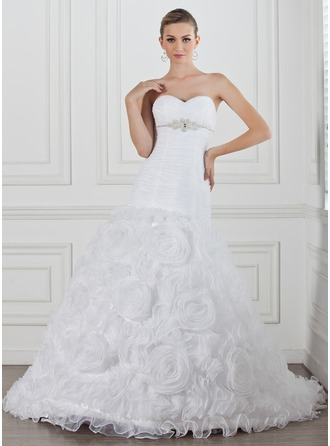 A-Line/Princess Sweetheart Chapel Train Satin Organza Wedding Dress With Ruffle Beading Flower(s)