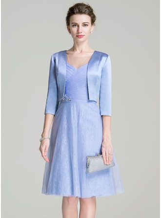 A-Line/Princess Scoop Neck Knee-Length Tulle Mother of the Bride Dress With Ruffle Beading Sequins