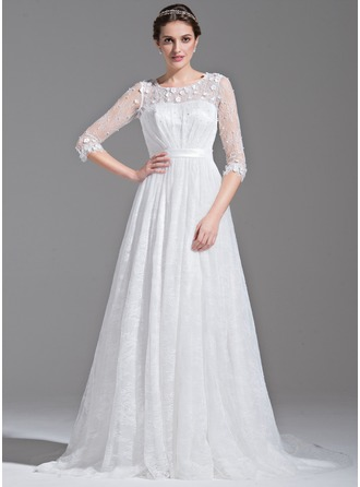 A-Line/Princess Scoop Neck Court Train Lace Wedding Dress With Ruffle Beading Flower(s)