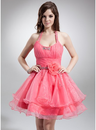 A-Line/Princess Halter Short/Mini Organza Homecoming Dress With Ruffle Beading Flower(s)