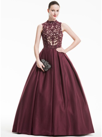 Ball-Gown High Neck Floor-Length Tulle Lace Evening Dress With Ruffle Beading Sequins