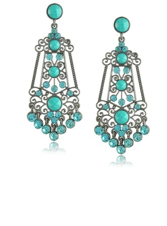 Brillant Alliage Strass Imitation turquoise Dames Boucles d'oreille de mode