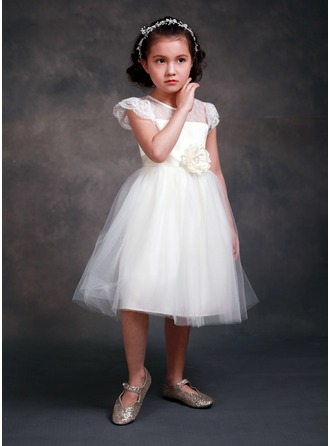 Princess Tea-length Flower Girl Dress - Tribute silk/CVC Short Sleeves Scoop Neck With Sash/Beading/Flower(s)