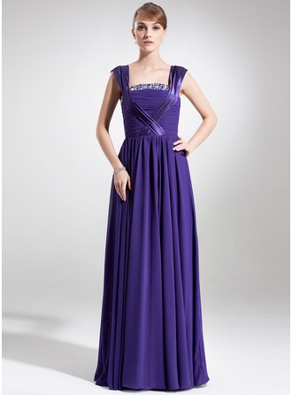 A-Line/Princess Square Neckline Watteau Train Chiffon Charmeuse Mother of the Bride Dress With Ruffle Beading Sequins