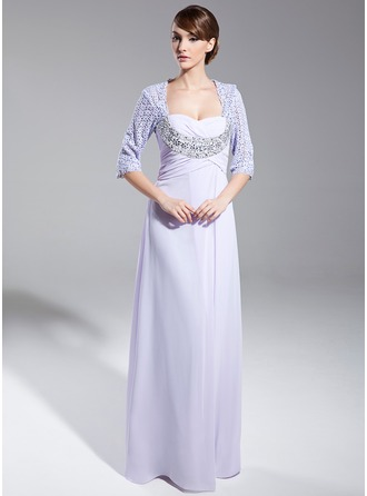 Empire Sweetheart Floor-Length Chiffon Lace Mother of the Bride Dress With Ruffle Beading