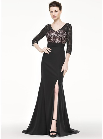 Trumpet/Mermaid V-neck Sweep Train Chiffon Lace Mother of the Bride Dress With Split Front