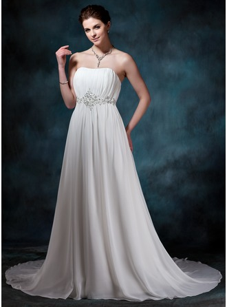 A-Line/Princess Sweetheart Court Train Chiffon Wedding Dress With Ruffle Beading Sequins