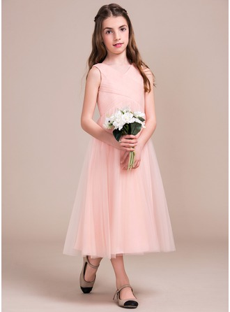 A-Line/Princess V-neck Tea-Length Tulle Junior Bridesmaid Dress With Ruffle