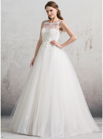 Ball-Gown Scoop Neck Floor-Length Tulle Wedding Dress With Beading Sequins