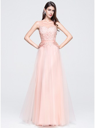 A-Line/Princess Scoop Neck Floor-Length Tulle Prom Dress With Beading Appliques Lace Sequins
