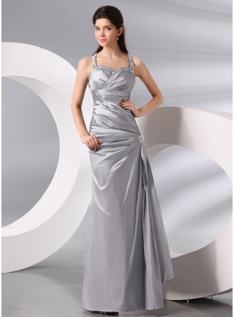 Sheath/Column Halter Floor-Length Taffeta Evening Dress With Ruffle Beading Bow(s)