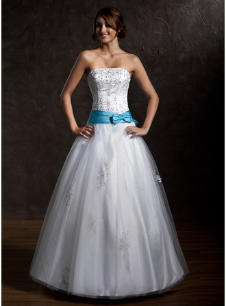 Ball-Gown Strapless Floor-Length Tulle Quinceanera Dress With Sash Beading Appliques Lace Bow(s)