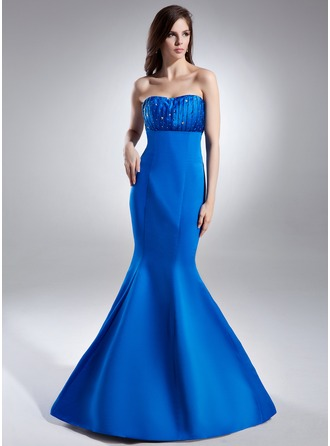 Trumpet/Mermaid Sweetheart Floor-Length Satin Evening Dress With Ruffle Beading