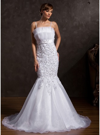 Trumpet/Mermaid Scalloped Neck Chapel Train Organza Satin Wedding Dress With Lace Sequins Bow(s)