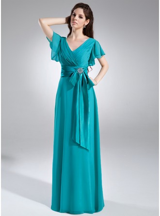 A-Line/Princess V-neck Floor-Length Chiffon Mother of the Bride Dress With Crystal Brooch Bow(s) Cascading Ruffles