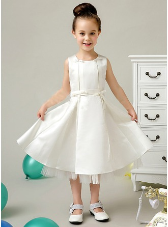 A-Line/Princess Scoop Neck Tea-Length Satin Flower Girl Dress With Bow(s)