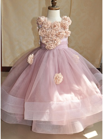 Ball Gown Asymmetrical Flower Girl Dress - Tulle/Tribute silk Sleeveless Scoop Neck With Flower(s)