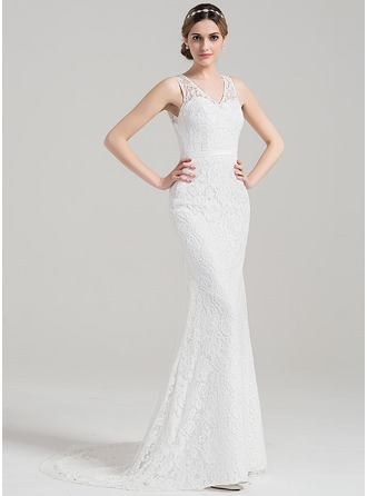 Sheath/Column V-neck Sweep Train Lace Wedding Dress With Bow(s)