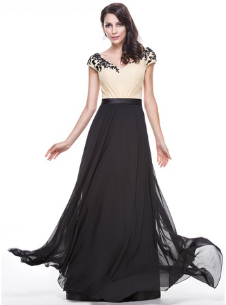 A-Line/Princess V-neck Floor-Length Chiffon Charmeuse Evening Dress With Beading Appliques Lace Sequins