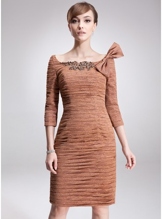 Sheath/Column Off-the-Shoulder Knee-Length Lace Mother of the Bride Dress With Ruffle Beading Sequins Bow(s)