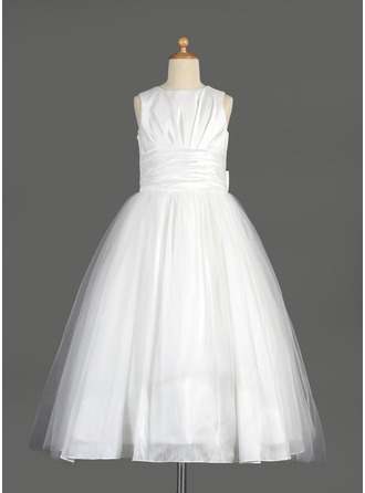 Empire Scoop Neck Tea-Length Tulle Flower Girl Dress With Ruffle Bow(s)