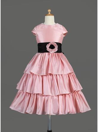 A-Line/Princess Scoop Neck Tea-Length Taffeta Flower Girl Dress With Sash Flower(s) Bow(s) Cascading Ruffles