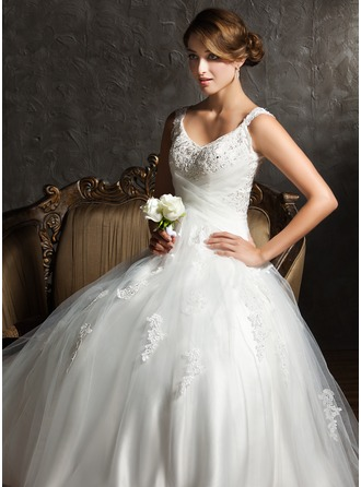 Ball-Gown V-neck Sweep Train Satin Tulle Wedding Dress With Ruffle Lace Beading Sequins