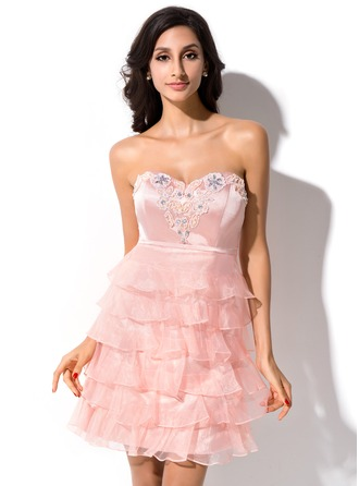 A-Line/Princess Sweetheart Short/Mini Organza Charmeuse Homecoming Dress With Beading Cascading Ruffles