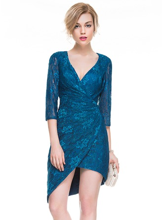 Sheath/Column V-neck Asymmetrical Lace Cocktail Dress With Ruffle