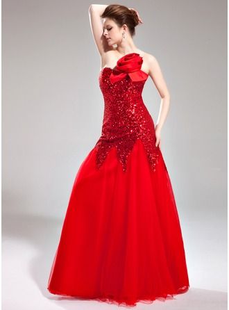 Trumpet/Mermaid Sweetheart Floor-Length Tulle Sequined Prom Dress With Flower(s)