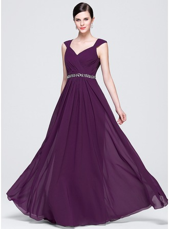 A-Line/Princess V-neck Floor-Length Chiffon Evening Dress With Ruffle Lace Beading Sequins
